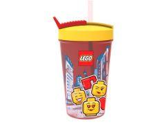 LEGO Iconic Girl láhev s brčkem - žlutá červená