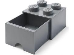LEGO úložný box 4 s šuplíkem - Tmavě šedá