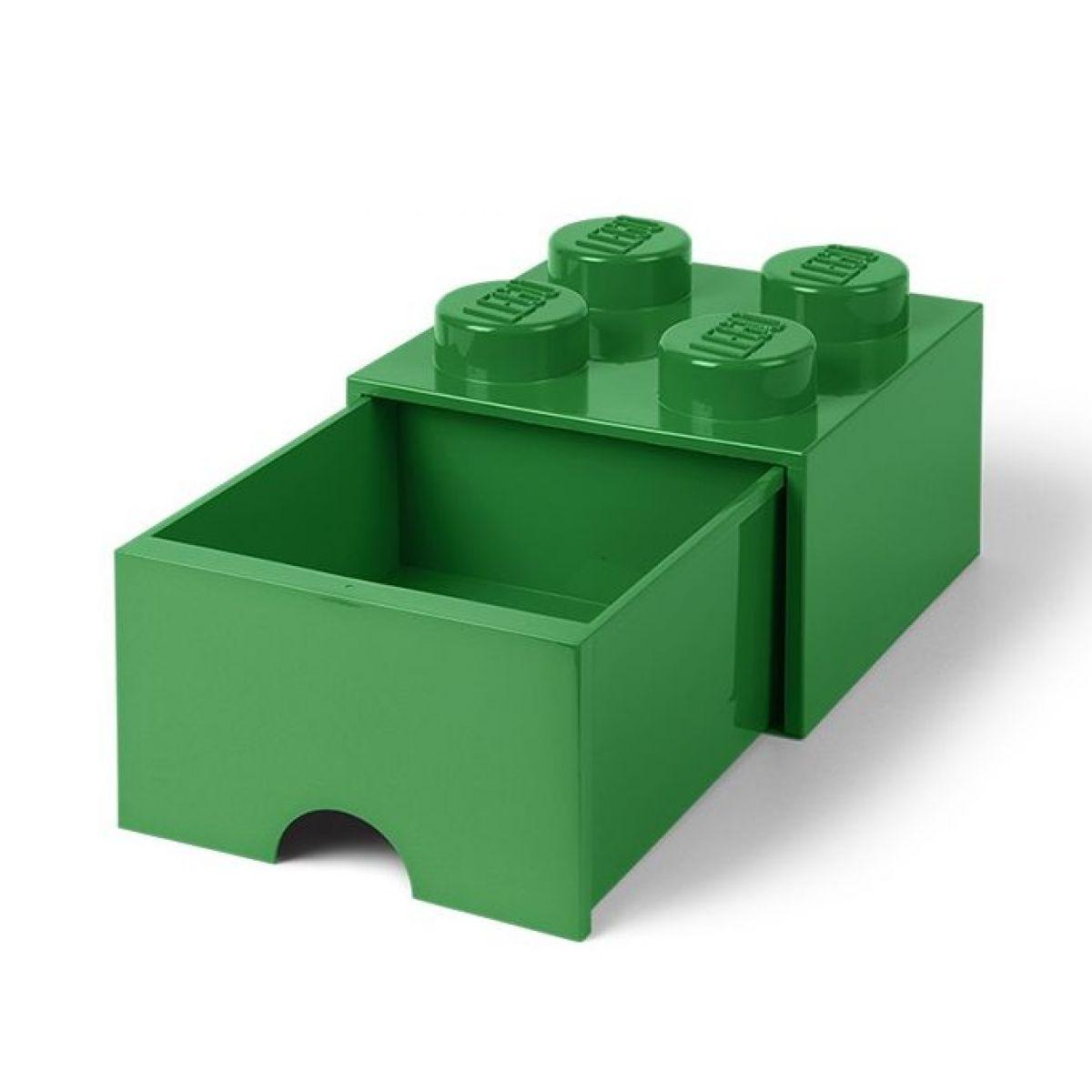 LEGO úložný box 4 s šuplíkem - Tmavě zelená