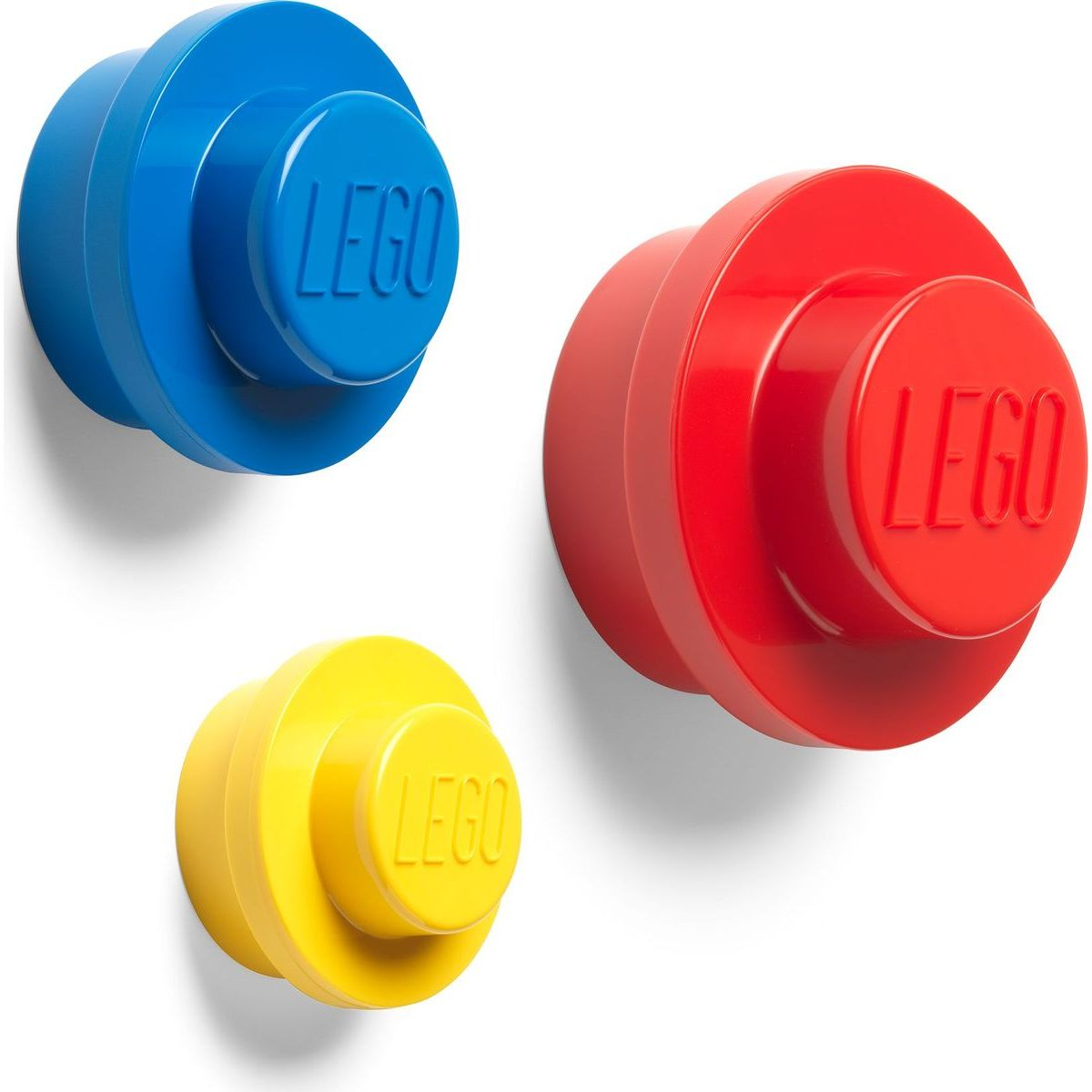 LEGO® věšák na zeď, 3 ks - žlutá, modrá, červená