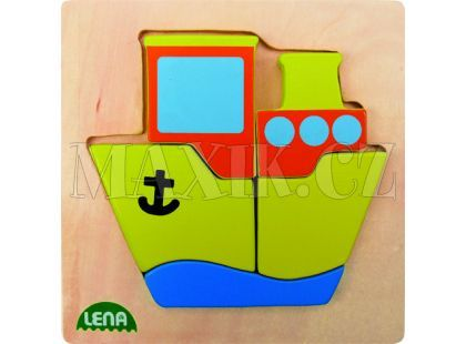 Lena Dřevěné puzzle Loď