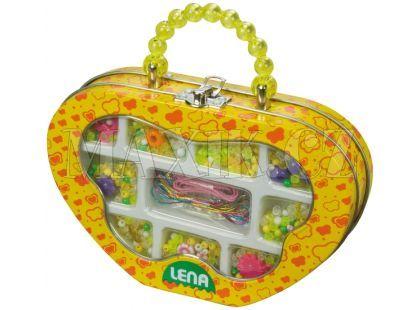 Lena Plastové perly v kovovém obalu Žluté