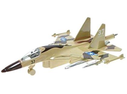 Letadlo vojenské na zpětné natažení se zvukem a světlem 19cm - Hnědá