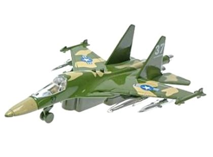 Letadlo vojenské na zpětné natažení se zvukem a světlem 19cm - Zelená