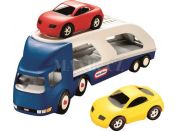 Little Tikes Tahač s návěsem pro přepravu aut modrý