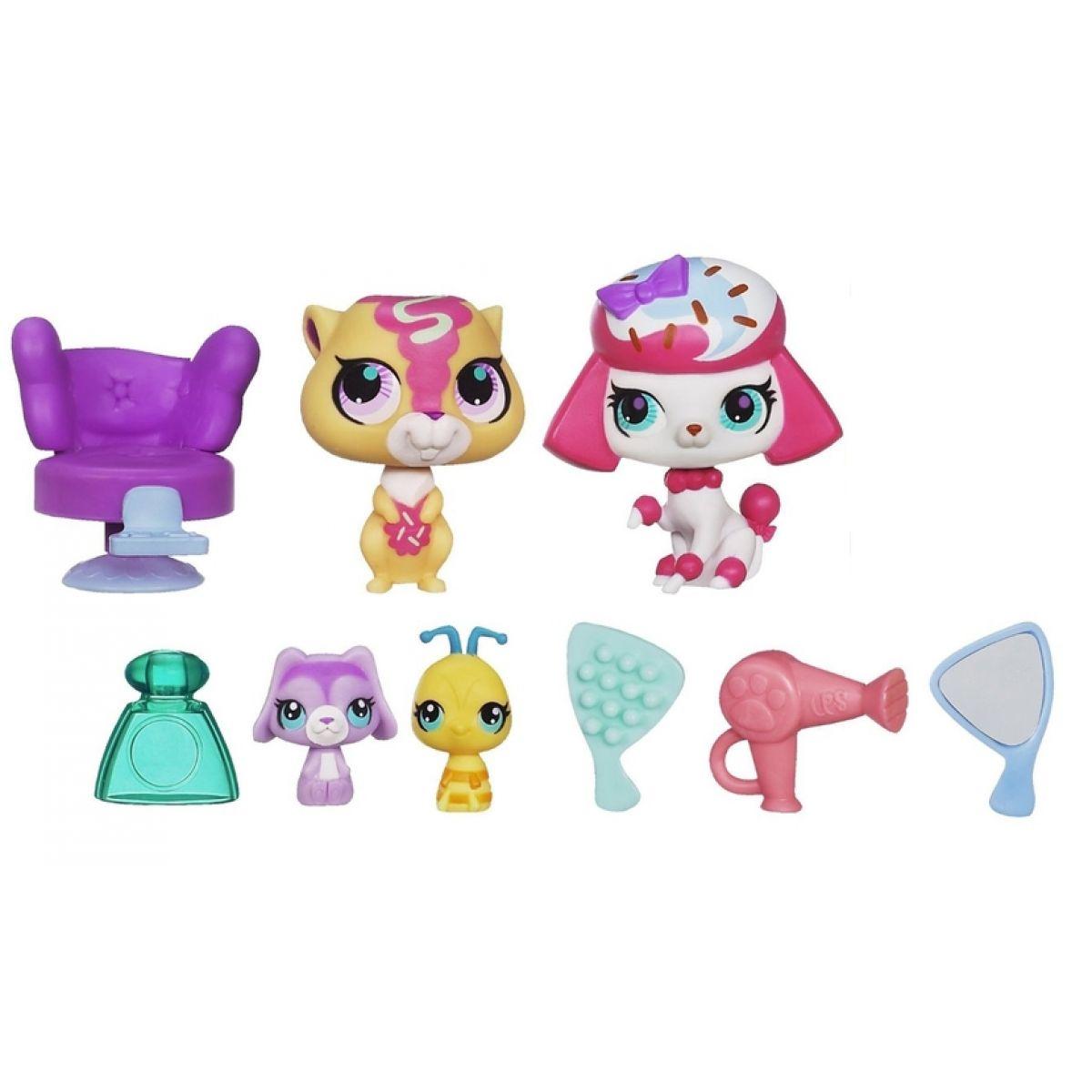 Littlest Pet Shop 4 zvířátka s doplňky v přenosném balení - A1352 Stylin Sweeties
