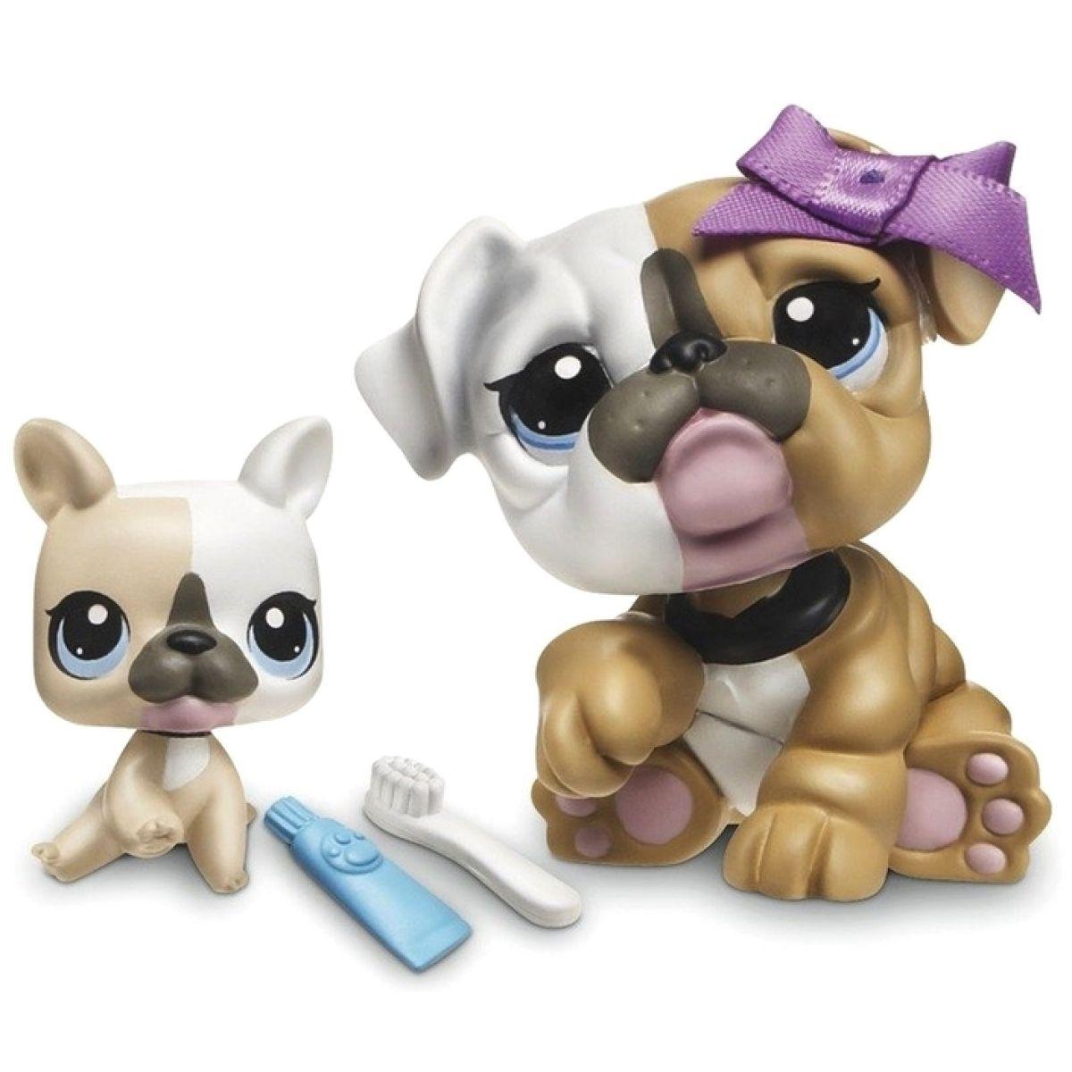 Littlest Pet Shop zvířátka - 3587 Buldog 3588 mládě