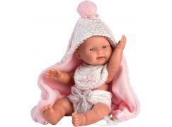 Llorens 26308 New born holčička realistická panenka miminko s celovinylovým tělem 26 cm
