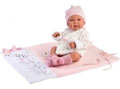 Llorens 84328 New born holčička realistická panenka miminko s celovinylovým tělem 43 cm
