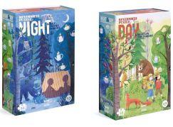 Londji Oboustranné puzzle Den a noc v lese 2 x 54 dílků