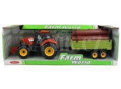 Mac Toys Traktor s valníkem - Červený s kládami