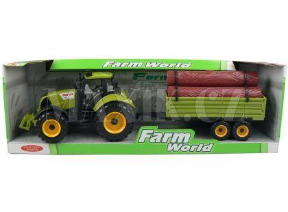 Mac Toys Traktor s valníkem - Zelený s kládami