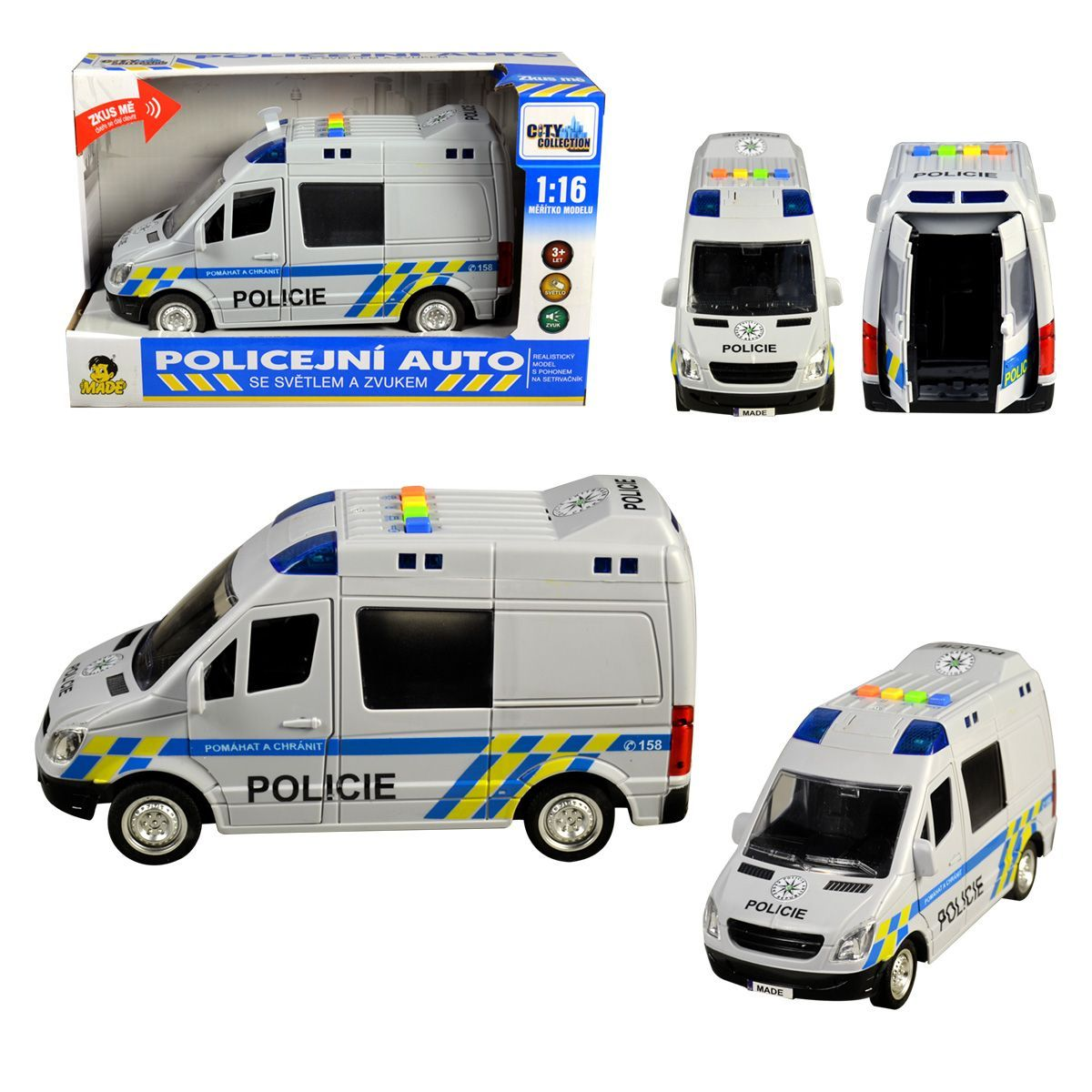 MaDe Auto policejní dodávka na setrvačník 22cm