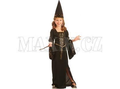 Made Dětský kostým Čarodějka černo-zlatá 110-120cm