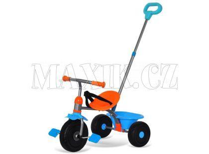 Made Šlapací tříkolka s vodící tyčí modro-oranžová 2v1