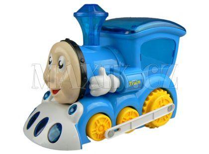 Made Lokomotiva s obličejem na baterie - modrá