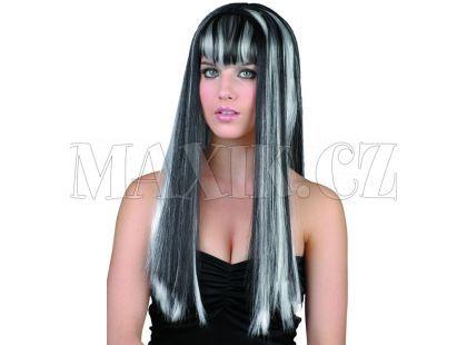 Made Paruka dlouhé černobílé vlasy