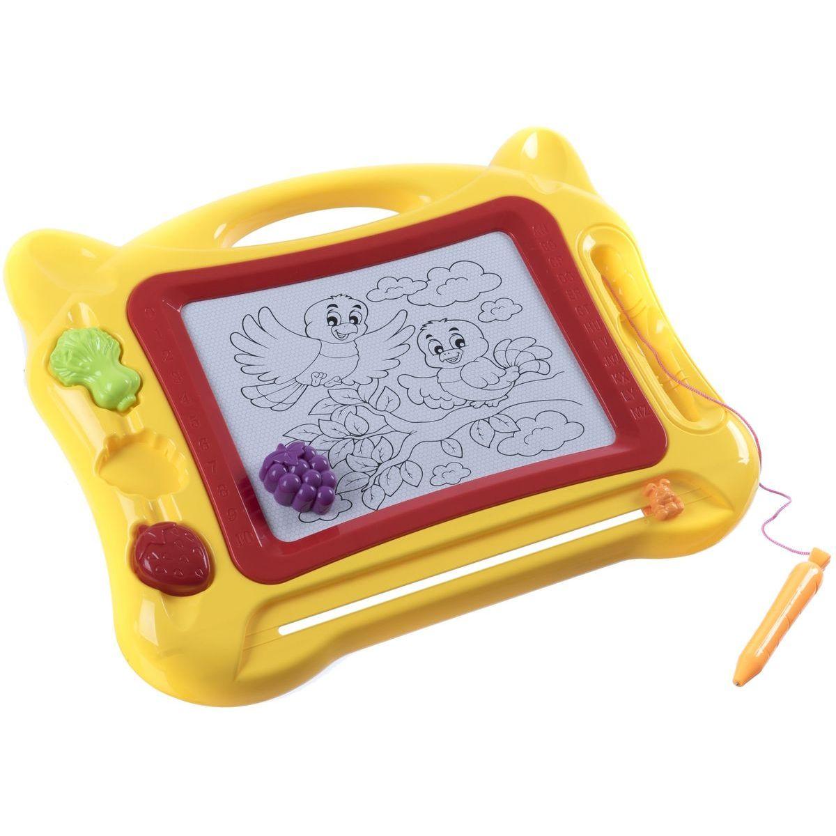 Magnetická tabulka kreslící s razítky žlutá