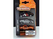Majorette Autíčka kovová Racing 3 ks Stříbrné, oranžové, černé
