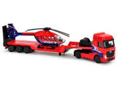 Majorette nákladní auto, kovové Mercedes-Benz s přívěsem a vrtulníkem