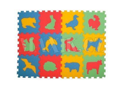 Malý Génius Pěnový koberec zvířata 12 dílů