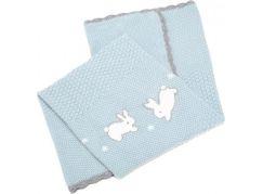 Mamas & Papas Pletená deka Králíčci modrá