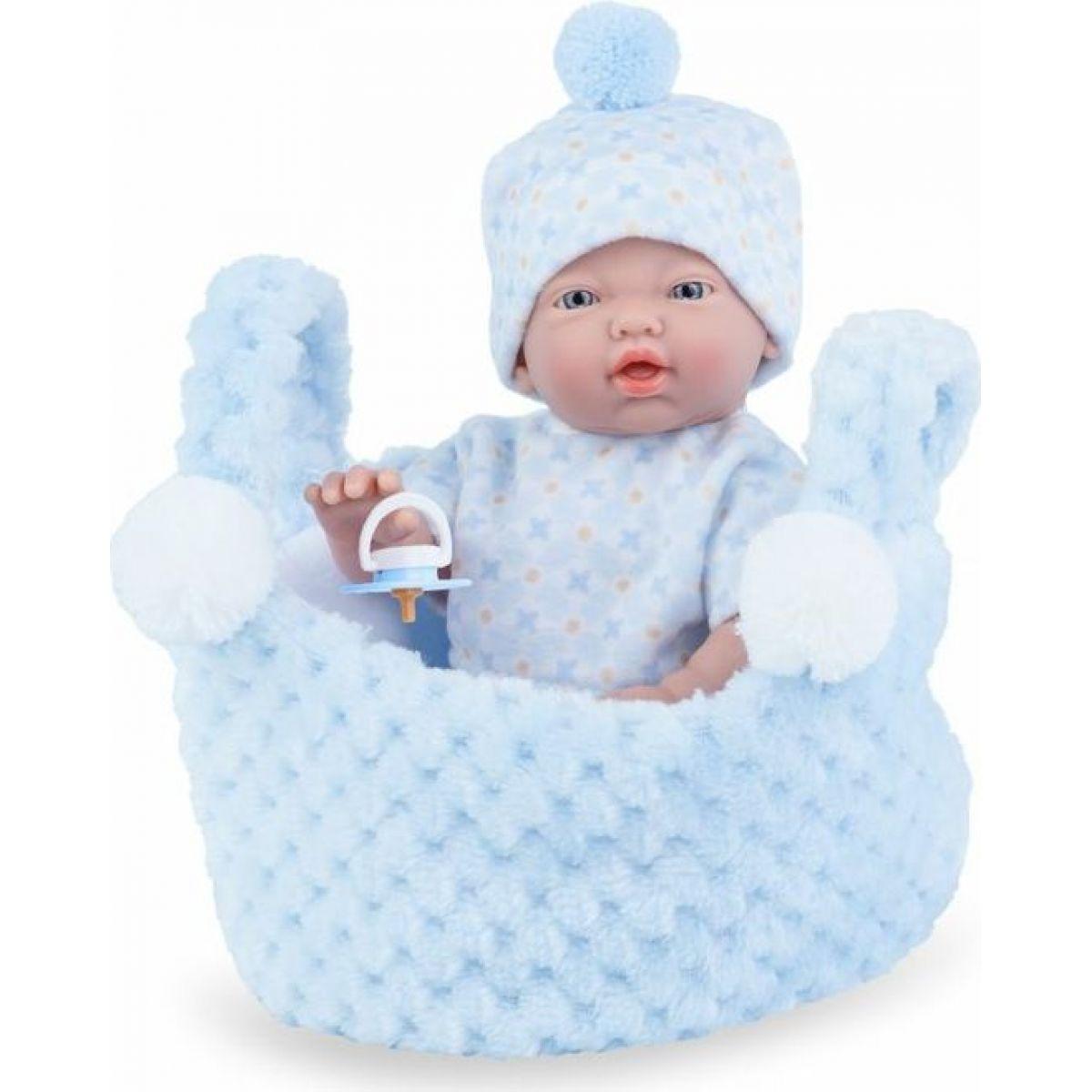 Marina & Pau 200-BP Panenka koupací miminko New Born chlapeček v košíčku 21 cm