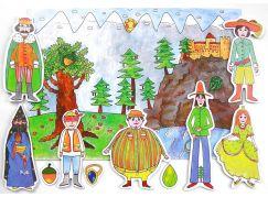 Marionetino Dlouhý, Široký a Bystrozraký - scéna s figurkami