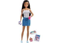 Mattel Barbie Chůva černovláska v sukni FXG92