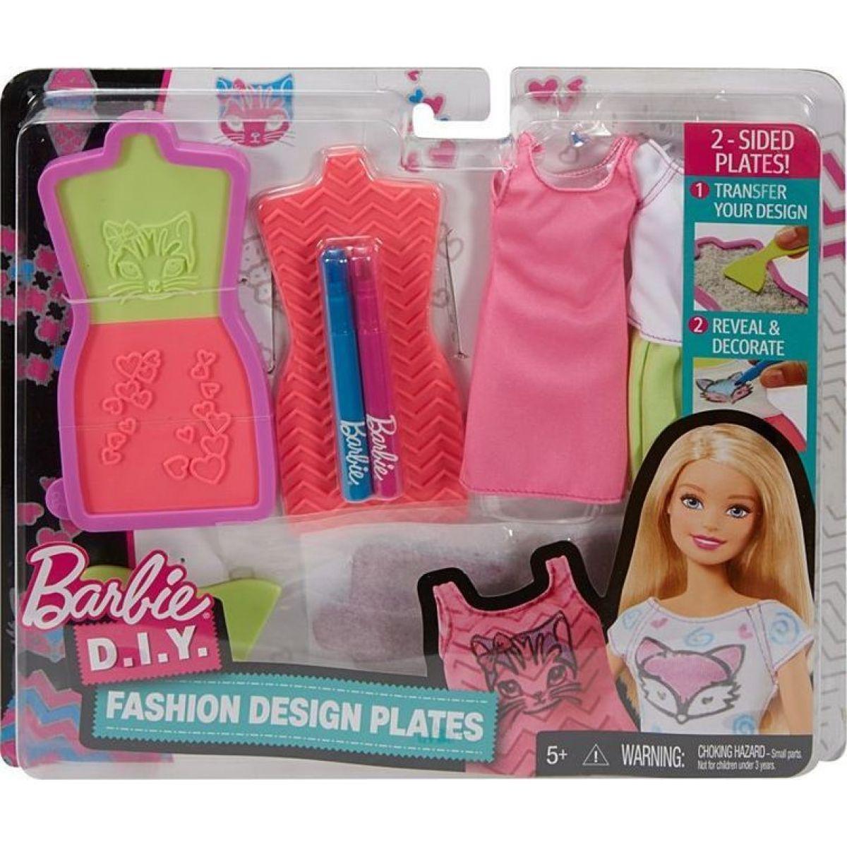Mattel Barbie D.I.Y. návrhářské módní šablony Růžovo-modrá