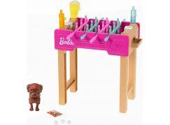 Mattel Barbie mini herní set s mazlíčkem stolní fotbálek GRG77