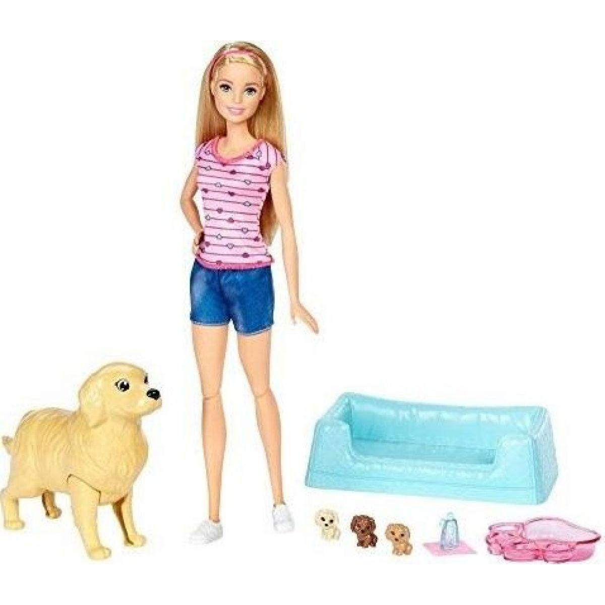 Mattel Barbie narození štěňátek Blond vlasy
