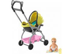 Mattel Barbie příběh z deníku chůvy miminko žlutý kočár
