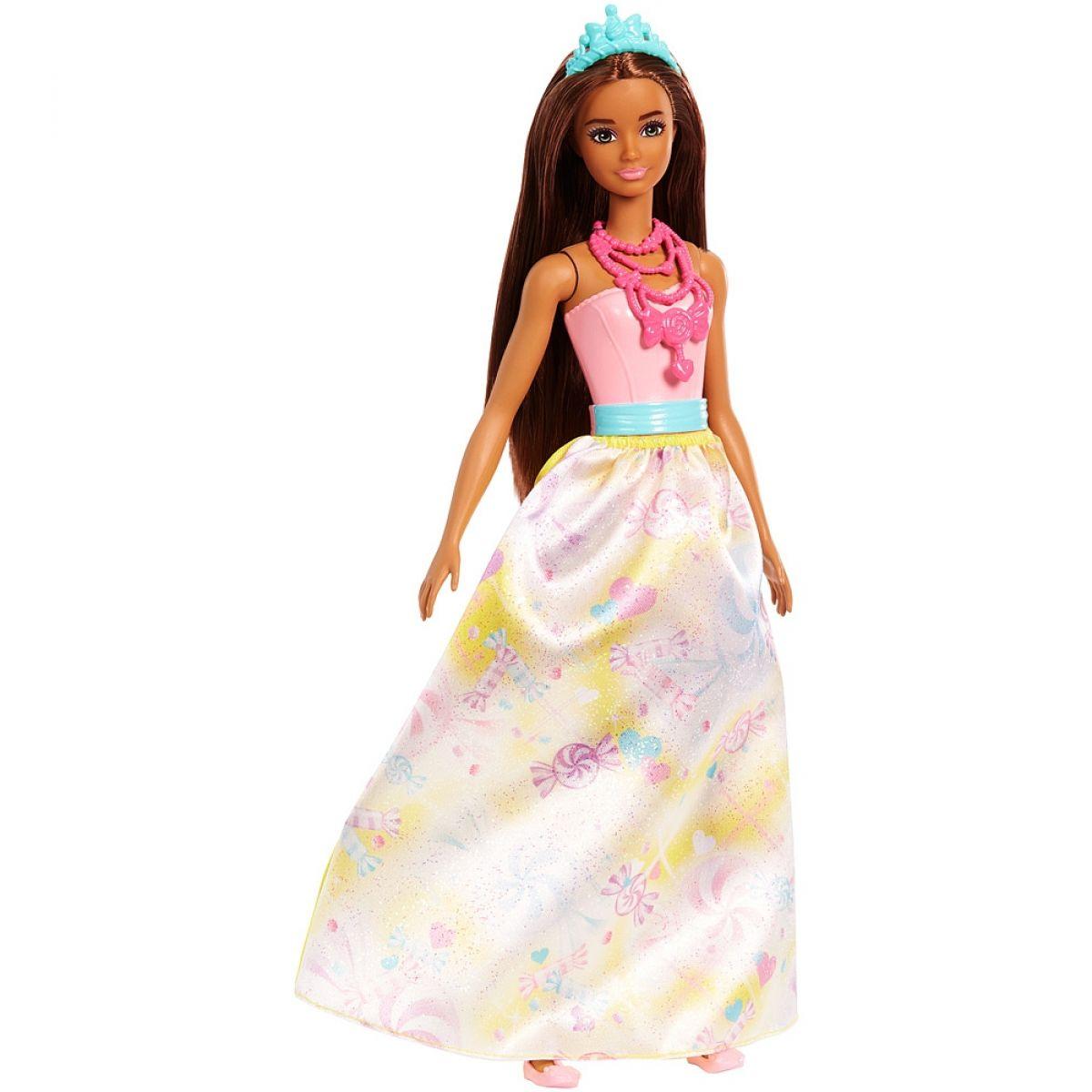 Mattel Barbie Princezna hnědé vlasy žlutá