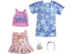 Mattel Barbie Sada oblečení - šaty s hvězdným potiskem GRC88
