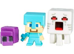 Mattel Minecraft minifigurka 3ks - Ghast, Steve with Diamond Armor and Endermite