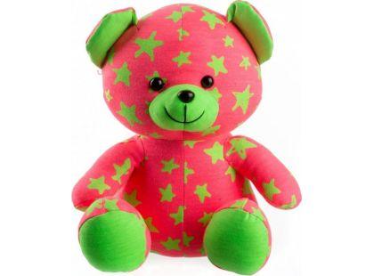 Medvídek svítící ve tmě růžovo - zelený