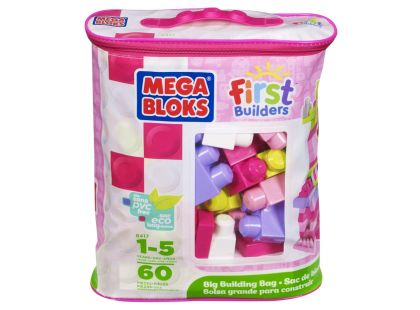 Megabloks Kostky v růžovém pytli 60 kostek - First Builders