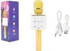 Mikrofon karaoke kov 25 cm nabíjení přes USB zlatý