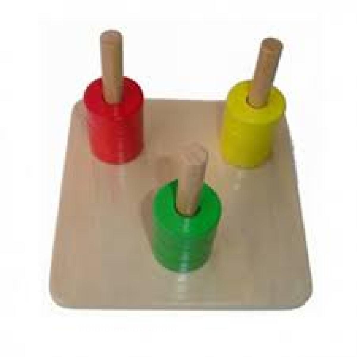 Montessori Barevné kroužky na 3 kolíkách