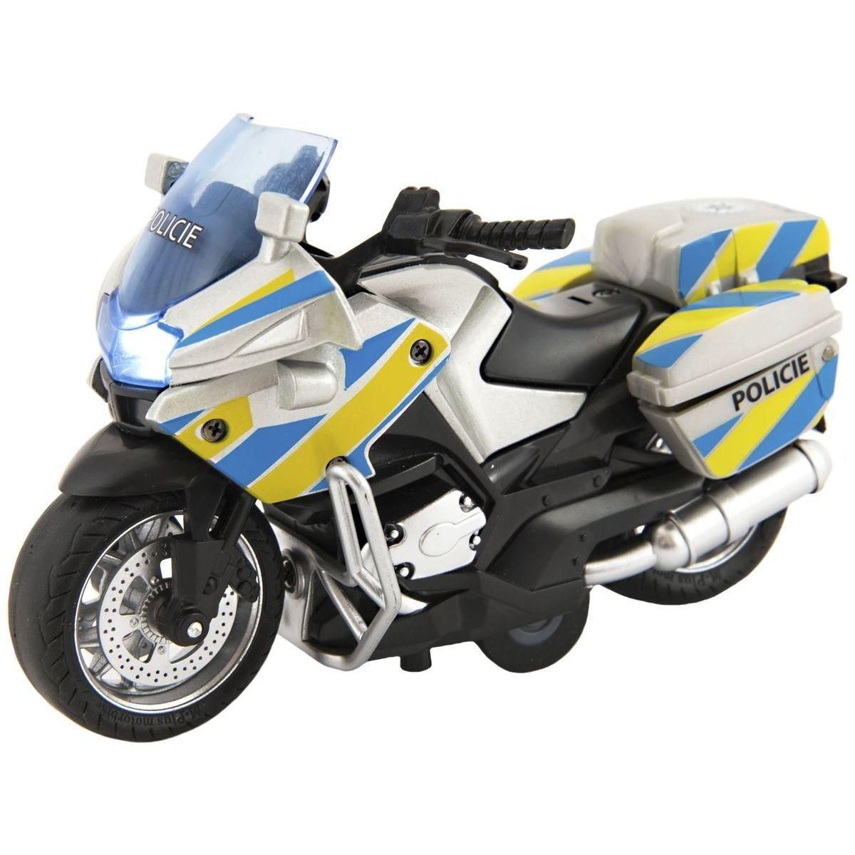 Motorka policejní 12cm a zpětné natažení se světlem a zvukem CZ