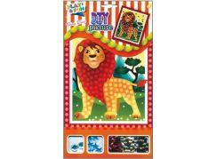 Mozaika se třpytivými flitry zvířátka 20,5x17cm lev