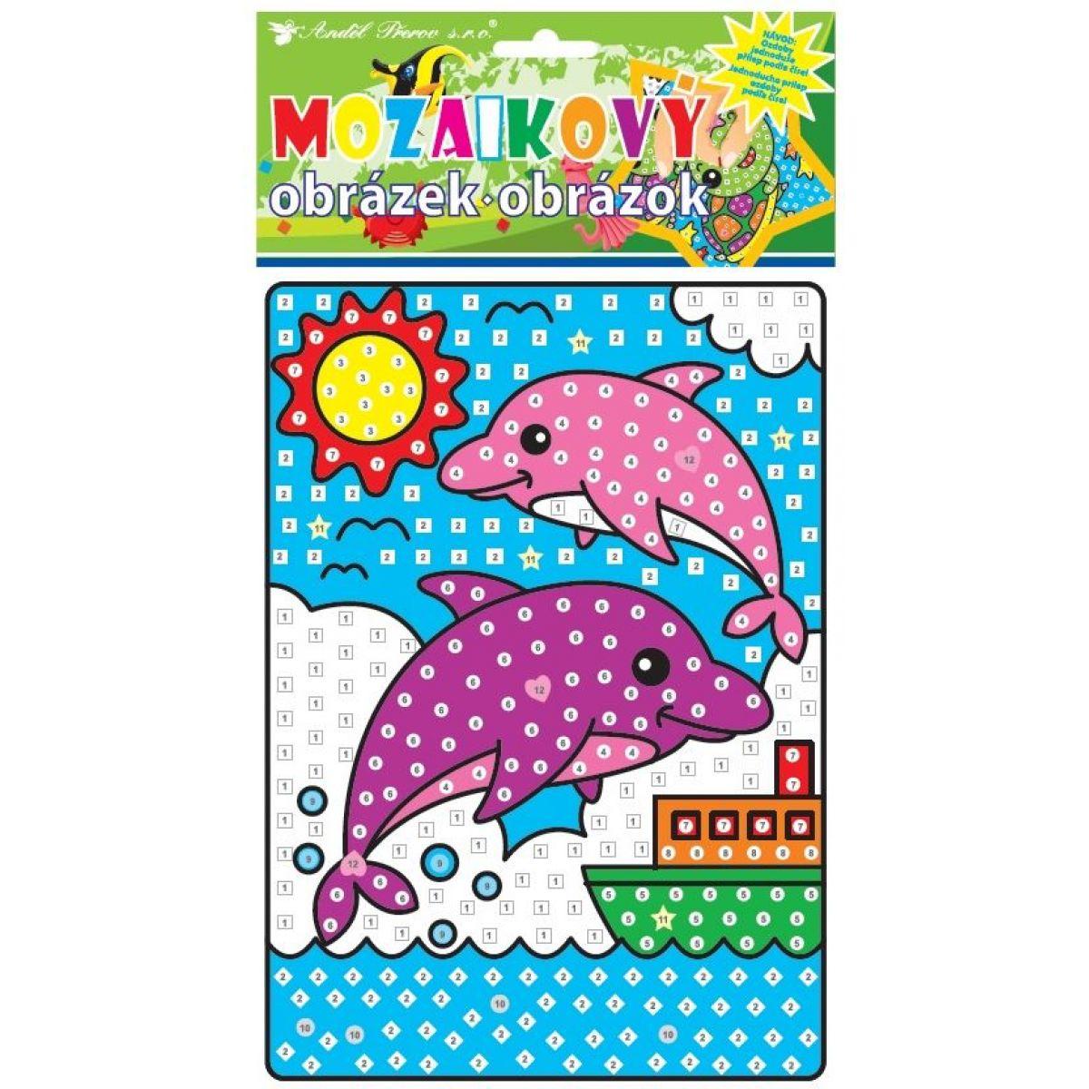 Mozaika se zvířátky 23x16 cm delfíni