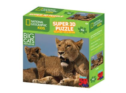 National Geographic Kids 3D Puzzle Lev 63 dílků
