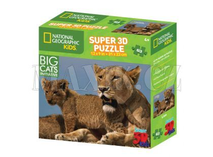 National Geographic Kids 3D Puzzle Lev 63 dílků