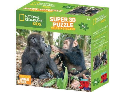National Geographic Kids 3D Puzzle Opice 63 dílků