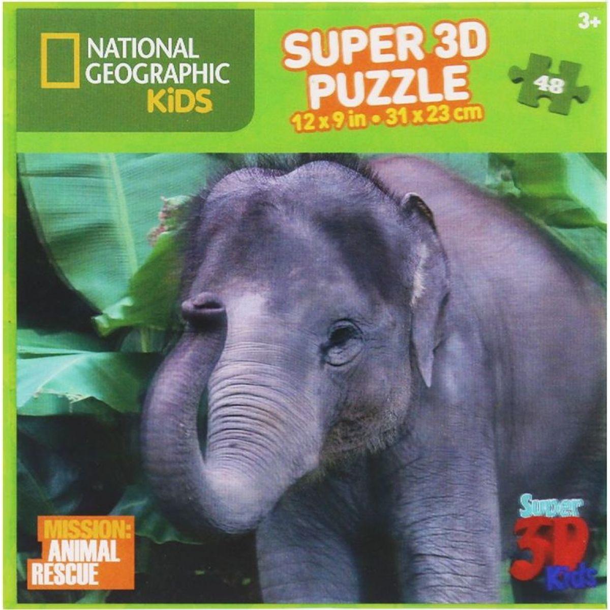 National Geographic Kids 3D Puzzle Slon 48 dílků
