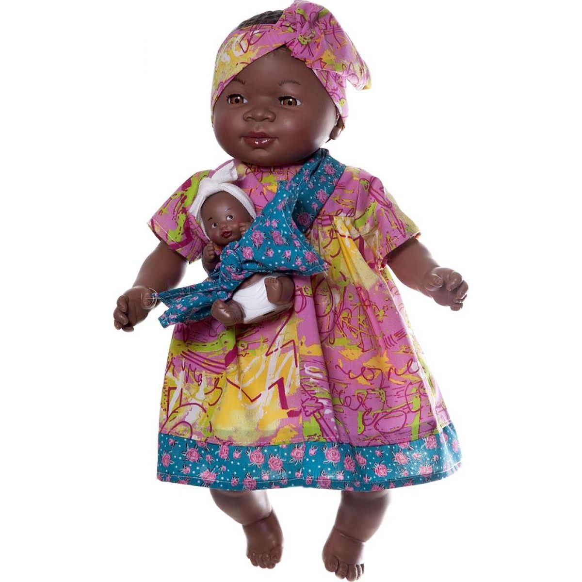 Nines Maha Con Bebe 45 cm - Růžové se vzorem