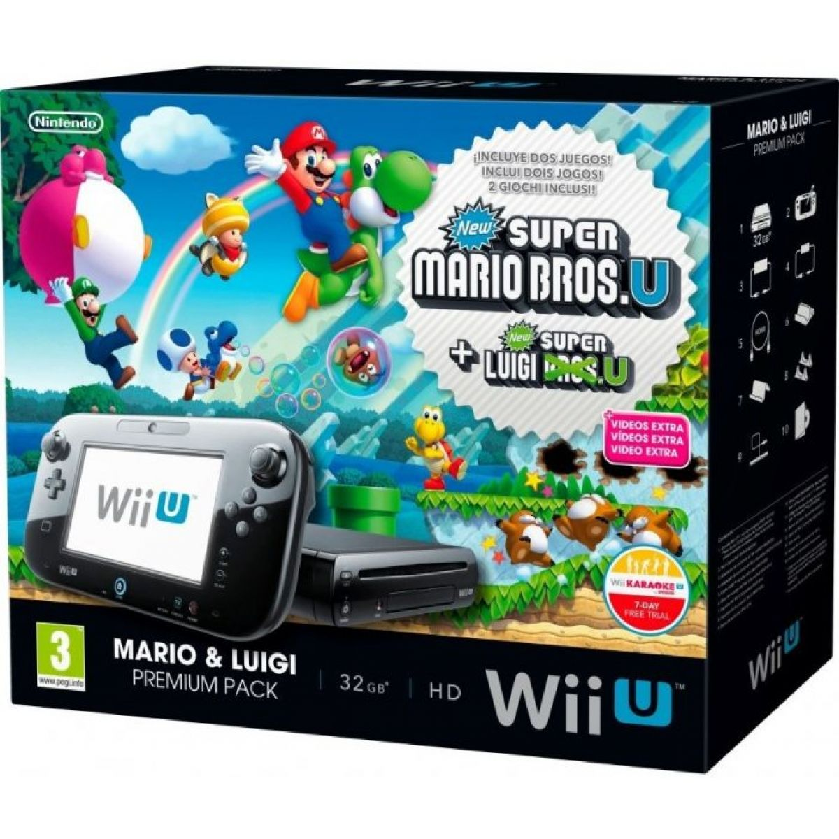 Nintendo Wii U Black Premium Pack 32GB + New Super Mario Bros.U + New Super Luigi U