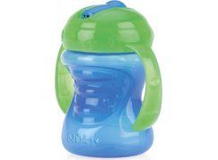 Nuby Hrneček netekoucí s tvrdým náustkem s odnímatelným vnitřním brčkem 2v1 240ml Modro-zelená